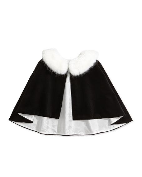 David Charles Velvet Fur-Collar Cape, Black/Ivory, Sizes 2-12