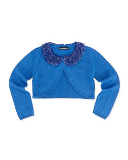 Beaded Collar Cardigan, Blue