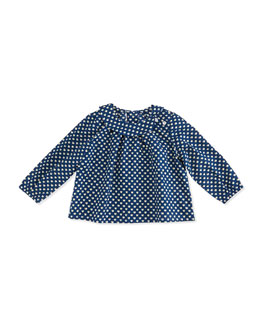 Busy Bees Sadie Apple-Print Tunic Top, Blue/White, 3-24 Months