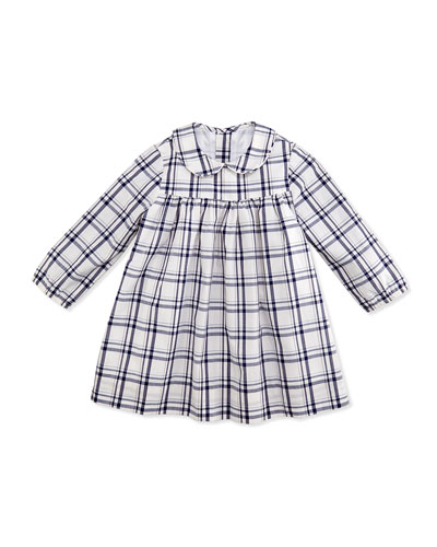 Busy Bees Ginny Plaid Dress, White/Navy, 3-24 Months