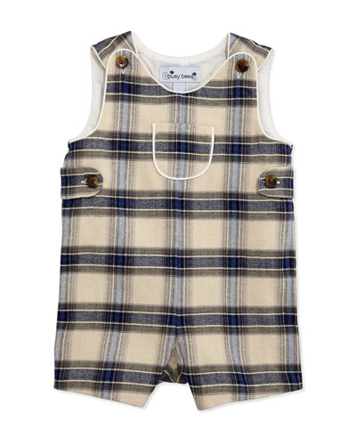 Busy Bees Jack Classic Plaid Short Overalls, Blue/Cream, 3-24 Months