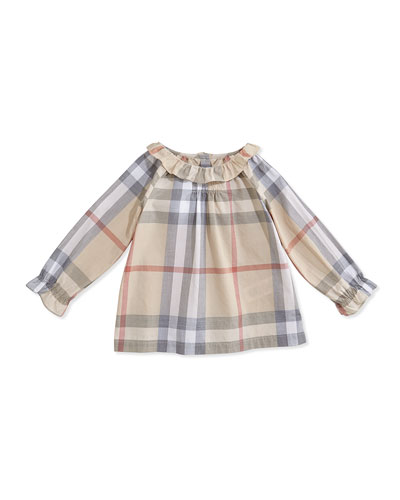 Burberry Ruffled-Collar Check Blouse, 3-24 Months