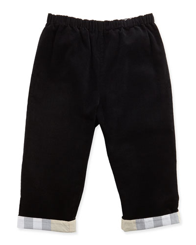Burberry Check-Cuff Corduroy Pants, Black, 3-18 Months