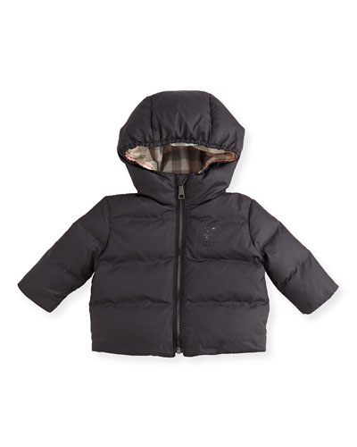 Burberry Quilted Hooded Jacket, Black, 3-24 Months
