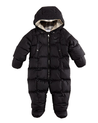 Burberry Down/Feather Puffer Snowsuit, Black, 3-18 Months