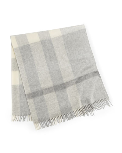Burberry Cashmere Exploded-Check Baby Blanket, Pale Gray