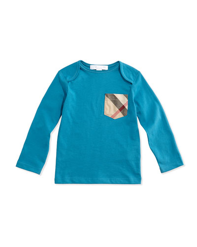 Burberry Long-Sleeve Check-Pocket Tee, Bright Turquoise, 3M-3Y