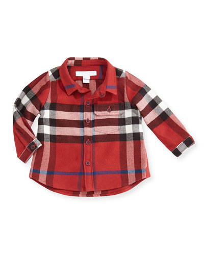 Burberry Check Flannel Button-Down Shirt, Red, 3M-3Y