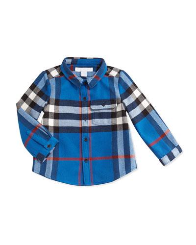 Burberry Check Flannel Shirt, Marine Blue, 3M-3Y