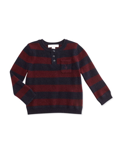 Burberry Cashmere Striped Henley Sweater, Deep Claret, 3M-3Y