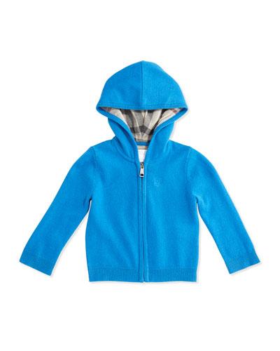 Burberry Cashmere Full-Zip Hoodie, Cerulean Blue, 3M-3Y