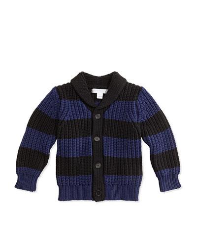 Burberry Striped Chunky-Knit Cardigan, Bright Navy/Black, 3M-3Y