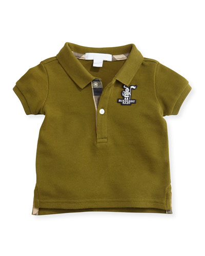 Burberry Infant Boys' Check-Trim Polo, Dark Lime, 3M-3Y