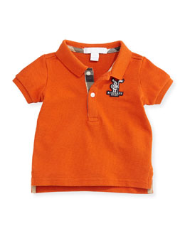 Burberry Infant Boys' Check-Trim Polo, Clementine, 3M-3Y