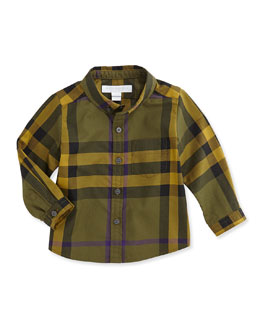 Burberry Check Button-Down Shirt, Olive, 3M-3Y