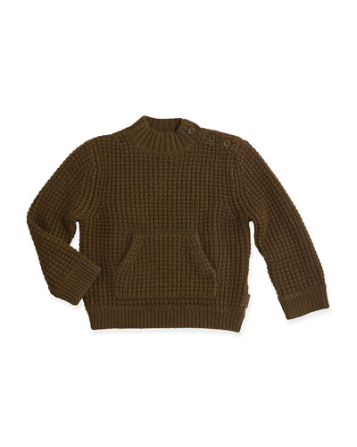 Burberry Waffle-Knit Pullover Sweater & Hat, Olive, 3M-3Y