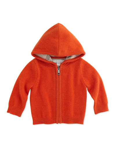 Burberry Cashmere Full-Zip Knit Hoodie, Bright Clementine, 3M-2Y