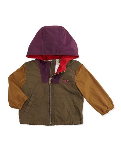 Burberry Colorblock Lightweight Tech-Fabric Jacket, Khaki Multi, 6M-3Y