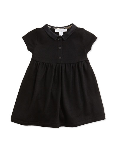Burberry Peter Pan-Collar Dress, Black, 3M-3Y