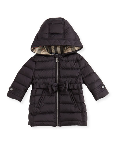 Burberry Brit Puffer Jacket with Bow-Belt, Black, 3M-3Y