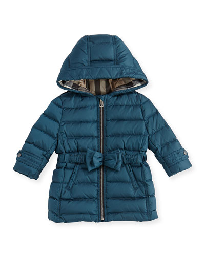 Burberry Puffer Jacket with Bow-Belt, Teal Blue, 6M-3Y