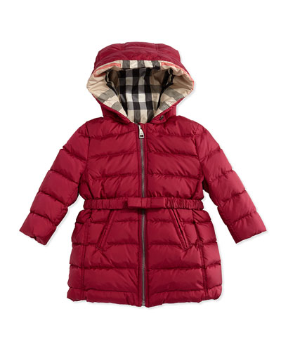 Burberry Puffer Jacket with Bow-Belt, Fritillary Pink, 6M-3Y