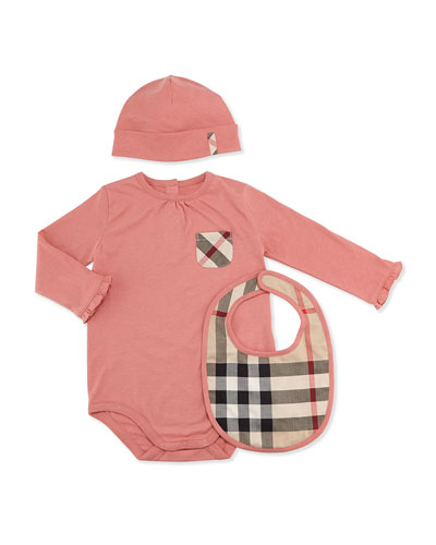 Burberry Playsuit, Hat, and Bib Set, Pale Rose, 3M-2Y
