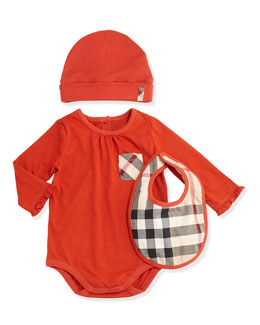 Burberry Playsuit, Hat, and Bib Set, Bright Russet, 3M-2Y