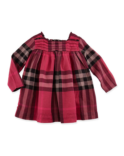 Check Ruffle-Collar Dress, Deep Claret, 3M-3Y
