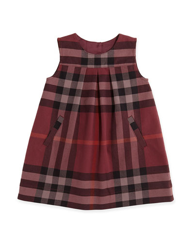 Burberry Brit Pleated Check Shift Dress, Deep Claret, 3M-3Y