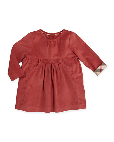 Burberry Short-Sleeve Corduroy Dress, Antique Rose, 3M-2Y