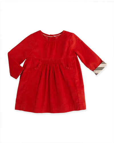Burberry Short-Sleeve Corduroy Dress, Bright Russet, 3M-3Y