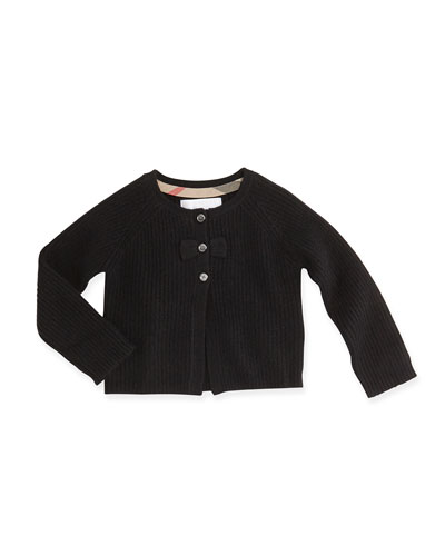 Burberry Cashmere Cardigan with Bow, Black, 3M-3Y