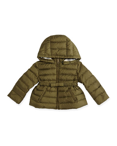 Burberry Puffer Jacket with Bow-Belt, Antique Green, 6M-3Y