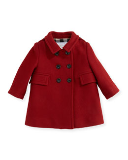 Burberry Wool-Blend Pea Coat, Damson Red, 6M-3Y