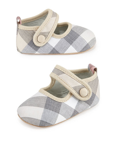 Robyn Mary Jane Flat, Pale Classic Check, Newborn