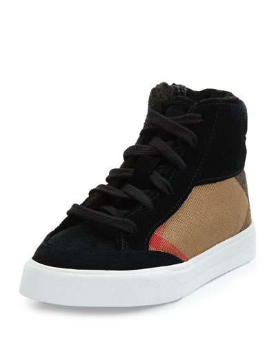 Burberry Check & Suede High-Top Sneaker, Black, Youth