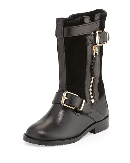 burberry two buckle leather boot black toddler