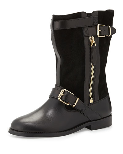 Burberry Two-Buckle Leather Boot, Black, Youth