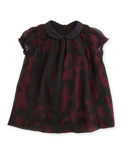 Burberry Printed Crinkle-Chiffon Dress, Deep Claret, 3M-3Y