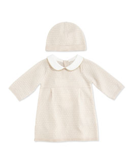 Chloe Knitted Dress with Bonnet, Pink Ice, 3-18 Months