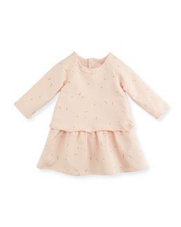 Chloe Mini-Bow Printed Fleece Dress, Magnolia, 3-18 Months