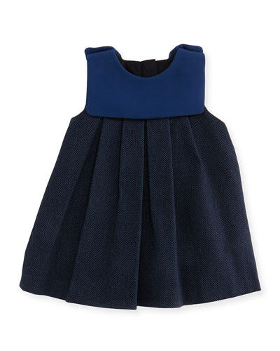 Chloe Pindot Dress with Crepe Detail, Dark Ink, 2A-3A