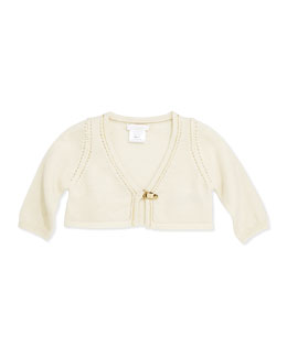 Knit Cardigan with Metal Clasp, Ivory, 3-18 Months
