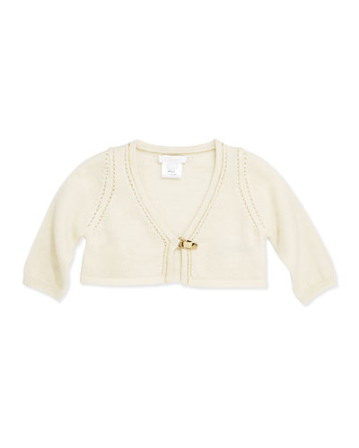 Chloe Knit Cardigan with Metal Clasp, Ivory, 3-18 Months