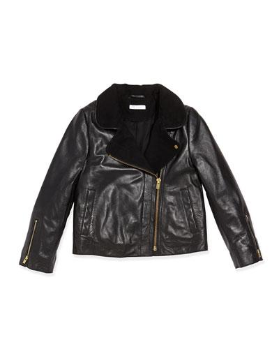 Chloe Asymmetric Zip Leather Jacket, Black, Sizes 2A-5A