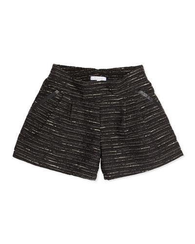 Chloe Shimmer Tweed Pleated Shorts, Black, 12A-14A