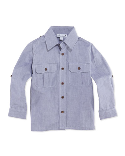 Busy Bees Reece Woven Camp Shirt, Navy, 2Y-12Y