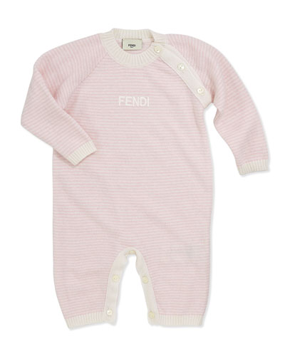 Fendi Baby Girls' Stripe Knit Coverall, Pink, 12-24 Months