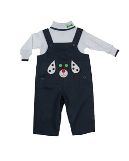 Florence Eiseman Dog-Applique Twill Overalls, Navy, 3-9 Months